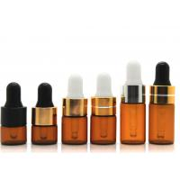 Quality Round Dropper 1ml Cosmetic Glass Bottles With Glass Pipette For Essential Oil for sale