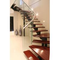 Buy cheap Compound building straight staircase with solid wood tread customized size from wholesalers