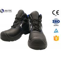 Quality Construction Site Ppe Safety Boots , Slip On Steel Toe Boots Warehouse Black Leather for sale