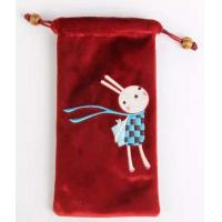 Quality personalized velvet cellphone bag pouch with embroidery for sale