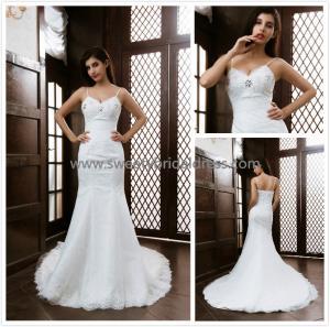Quality Mermaid & Trumpet Spaghetti Straps Beading Lace Bridal Dress XG005 for sale