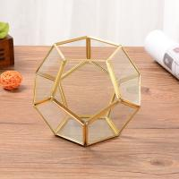 Golden Football-Shaped Glass and Copper Geometric Terrarium Air Plant Pot Succulent Planter for sale