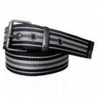 Classic Men's Cotton Webbing Belt with Leather Strap for sale