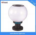 LED Round Solar Pillar Lights White Globular E27 Solar Post Pole Column Light