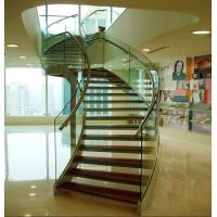 Quality Stainless steel curved glass staircase indoor glass stairs for sale