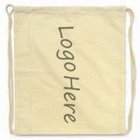Quality Drawstring Bag with Printed Logo, Made of 100% Cotton for sale