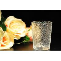 Quality 8oz decorations clear candle holders , glass candle cups Leaf Pattern for sale