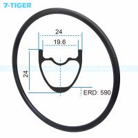Quality 7-tiger carbon mountain bicycle wheels rim 29 er carbon racing bike brompton fat bike 24-32 holes Tubeless Compatible for sale