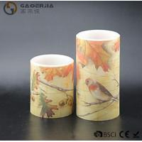 Quality Eco Friendly Birds Paradise Water Sticker Flameless Led Candles With Flat Edge for sale