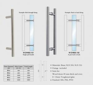 Buy cheap wooden door handles Stainless Steel entry door handles set Dia. 32mm tub H design W-DH603 glass door  handle from wholesalers
