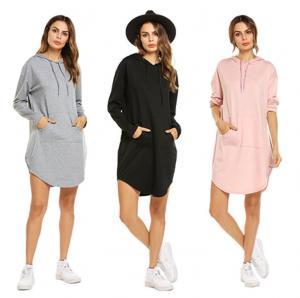 Quality Stylish Plus Size Ladies Shirts String Kangaroo Pocket Long Fleece Dress With Hood for sale