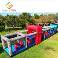 China 100ft Long Inflatable Obstacle Course For Adult Children Pvc Tarpaulin Material on sale