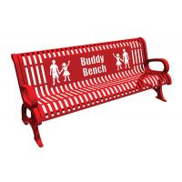 Quality Red Steel Cast Aluminium Garden Bench , Metal Buddy Bench For Schools for sale