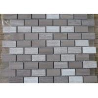 Athen Grey + Snow White Marble Mosaic Tile Sheets 7-12mm Thickness Anticorrosive for sale