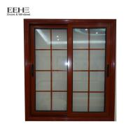 Anodized Wood Color Aluminium Sliding Windows With Grill Water Resistance