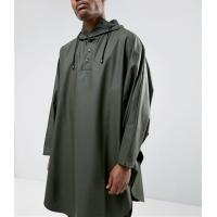 Quality Army Green Long Waterproof Hooded Jacket , Mens Poncho Raincoat Plain Dyed for sale
