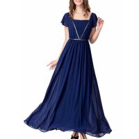 Quality Elegant Chiffon U Neck Womens Summer Maxi Dresses Royal Blue Flare Sleeves Big Sweep for sale