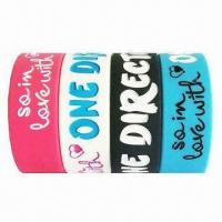 Quality Silicone Wristbands, Customized Designs are Welcome, with Logo Printing for sale