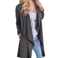 Quality Viscose Blends Womens Long Cardigans Solid High Low Long Sleeve Open Front Cardigan for sale