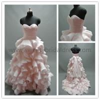 Quality Ball Gown Sweetheart Ruffles Belt Organza Wedding Dress AS1871A for sale