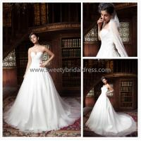 Quality Aline Sweetheart Beading Lace Appliques Tulle Wedding Dress ZX007 for sale