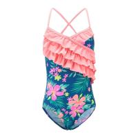 Quality Floral Prints Pink Ruffles Little Girl Swimsuits , Spaghetti Strap Swimsuit Summer Design for sale