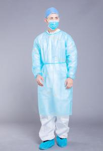 China Non Woven Alcohol Resistant 18g PP Disposable Isolation Gown on sale