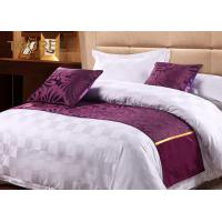 Quality Viscose Cotton Blended Jacquard Purple Bed Runner Wide Size With Satin Band for sale