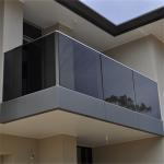 Quality Exerior outdoor terrace deck U channel base aluminum modern design frameless glass railing for sale