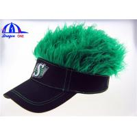 Quality Black Cotton Lady's Sun Visor Hats With Green Fake Hairs And Embroidery Logo for sale