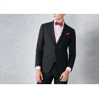 Buy Black Tailored Mens Tuxedo Suits Breathable Polyester / Rayon Fit Wedding Party at wholesale prices
