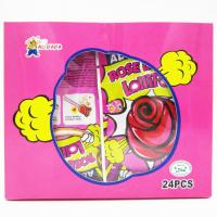 China Sweet candy Rose Shaped Lollipops With Fluorescence Stick And Popping Candy on sale