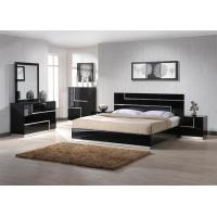 Modern Design Black Gloss Bedroom Furniture With King Size Bed / Mirror