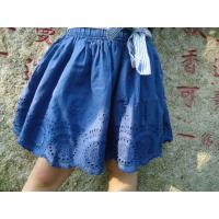 Quality Blue Embroidery Cotton Little Girls Denim Skirt , Eyelet Girls Summer Skirts With Bow for sale