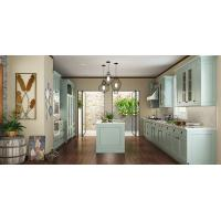 Quality Villa Fashion Style Green Color Pvc Kitchen Furniture U - Shape With Island Bench for sale