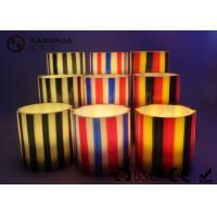 Quality Colorful Flameless Led Candles With Stripes Flat Top Candles ST0011 for sale