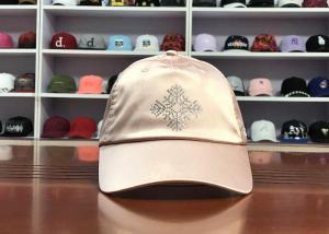 Quality Hot Sales ACE Unisex Adjustable Rhinestone Embroidery Logo Satin Fabric Soft Design Baseball Cap Curve Hat for sale