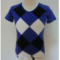 Quality Summer Checked Panels Mens Polo T Shirts Short Sleeve V Neck T Shirts 95% Cotton 5% Spandex for sale