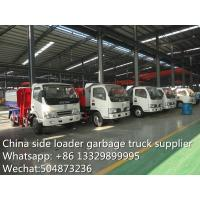 Quality dongfeng side loader garbage truck, gabage truck with wastes bin for sale, for sale
