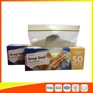 Quality Ziplock Plastic Sandwich Bags With Writable Panel , Zipper Food Storage Bags 18 * 17cm for sale