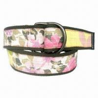4cm Width Floral Print Cotton Belts, Customized Logos Welcomed for sale