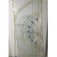Quality golden brass caming decorative door glass with blue bevel for sale