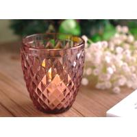 Quality Diamond Votive Handmade Glass Candle Holders , Glass Candle Jars Spraying Color Finish for sale
