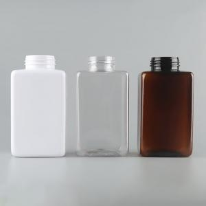 Quality 500ml PET square cosmetic packaging shampoo plastic bottle for sale