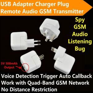 Quality Mini AC Adapter Charger US/EU Plug Hidden Spy GSM SIM Remote Audio Transmitter Listening Ear Bug W/ 5V USB Output for sale