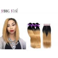 Buy cheap 3 Blonde Unprocessed Peruvian Hair Bundles For Girls 8a Grade Nice Shine from wholesalers