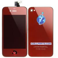 Quality Mirrored LCD Digitizer & Back Cover & Button Assembly-Red For Apple iPhone 4 for sale