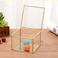 China Transparent Glass Square Jewellery Storage Box Eternal Flower Box for sale