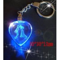 Quality Promotional led crystal keychain laser engraved gift for sale