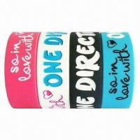 Quality Free Silicone Wristbands with Logo Printing, Customized Designs and Colors are Accepted for sale